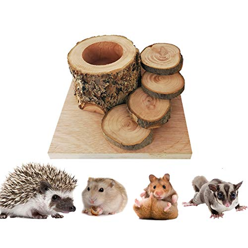 Small Animal Supplies Hamster Food Bowl,Pet Wooden Feeders for Cage Crate,Guinea Pig Chew Climbing Ladder Toy Non-Toxic,Rabbit Ferret Parrot Dish Container
