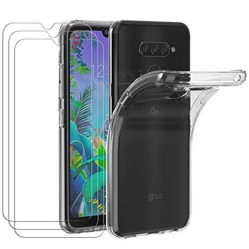 ivoler Hülle für LG Q60 / LG K50, mit 3 Stück Panzerglas Schutzfolie, Dünne Weiche TPU Silikon Transparent Stoßfest Schutzhülle Durchsichtige Handyhülle Kratzfest Hülle