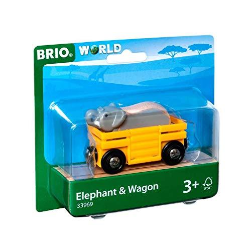 BRIO World - 33969 - Wagon et Eléphant - Accessoire pour circuit de train en bois - Avec connexions aimantées - Thème safari - Jouet pour garçons et filles dès 3 ans