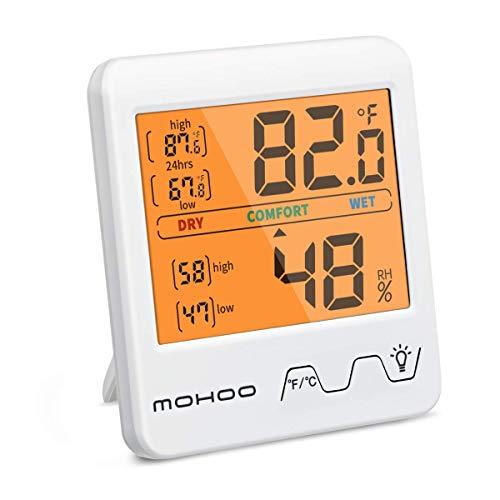 Thermometer Hygrometer Innen,MOHOO Hochgenaues Digitales Hydrometer Feuchtigkeit Raumthermometer mit Hintergrundbeleuchtung Mini Temperatur Luftfeuchtigkeitsmessgerät für Raumklimakontrolle und Zimmer