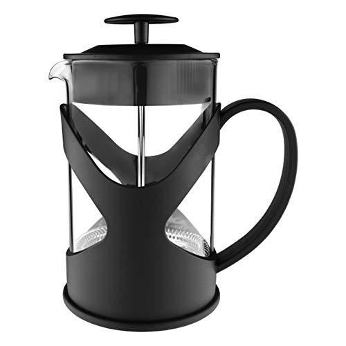 Café Olé XMP-06F - Cafetera de émbolo de plástico y cristal, color negro, prensador de acero inoxidable, 800 ml, para 6 tazas de moca, 800 ml
