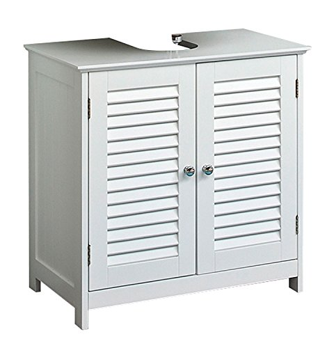 Waschbeckenunterschrank Waschtischunterschrank | B 60 cm | Weiß matt | Lamellen | 2 Türen