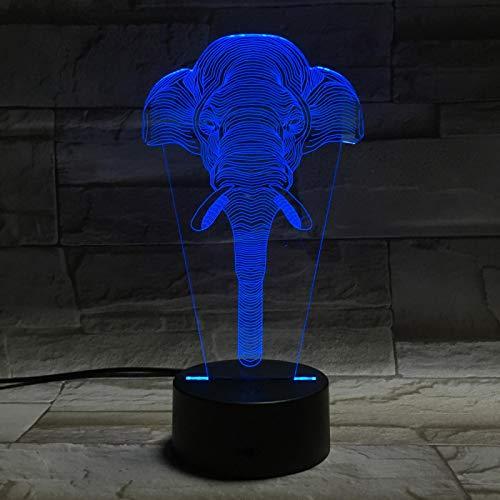 Lámpara Ilusión Optica 3D Nariz De Elefante Animal Luz De Noche 16 Colores Cambio Touch Led Usb Lámpara De Mesa Dormitorio Decoración Juguetes De Regalo De Navidad Y Cumpleaños Para Niños