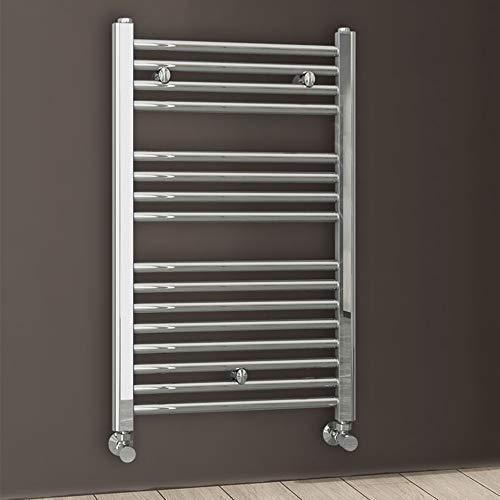 Kibath L497503 Toallero Secatoallas radiador para integrar en Circuito de Agua Caliente, Tubos de Acero con Acabado Cromado 800x500. Válido para Red de calefacción estandar, Cromo Brillo