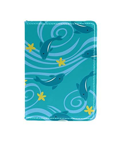 Fondo Azul mar Peces 03 Titular del Pasaporte Conjunto Paquete de Tarjeta Cuero de Viaje Impermeable Almacenamiento multifunción identificación Cubierta de protección 11.5x16.5cm