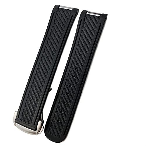 DLCYMY Cinturini Bracciale Per Omega Seamaster 300 AT150 DE VILLE Tessuto Modello Gomma Silicone Cinturino Orologio Accessorie Watch Band Catena (Colore del cinturino: Nero, Dimensioni: 20mm)