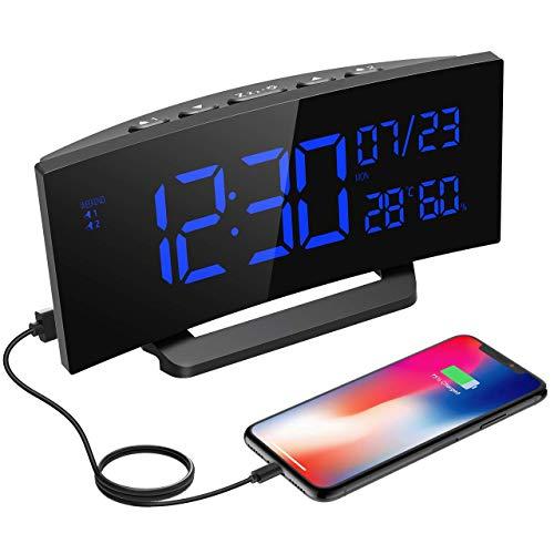 Mpow Reloj Despertador Digital con Medición de Temperatura y Humedad,Reloj de Pantalla Curva,Alarma Dual,3 Tonos,Reloj Multifuncional con Calendario,Fecha,Función de Fin de Semana,Snooze