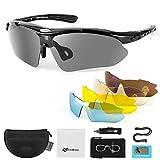 solawill Sportbrillen Fahrradbrille Damen Herren Polarisierte Fahrrad Brillen UV400 Schutz Sonnenbrille mit 5 Wechselgläser Unisex Radbrillen für Fahren Angeln Glof Baseball Laufen Wandern