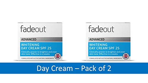 Fade Out Advanced Whitening Day Cream with SPF25   Moisturizing Face Cream with Niacinamide and Lactic Acid to Brighten Skin Tone in 4 weeks   Contains SPF 25   Contains Active Natural Ingredients   Clinically Proven   50ml  Pack of 2