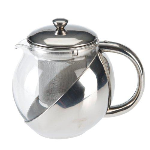 axentia Teekanne mit Siebeinsatz, Teebereiter aus Glas,  Glaskanne mit Deckel, Teesieb aus Edelstahl, Teekrug mit hitzeresistenten Borosilikatglas, Teekrug mit Deckel und Griff, Teekocher mit einem Füllvolumen ca. 1,20 l