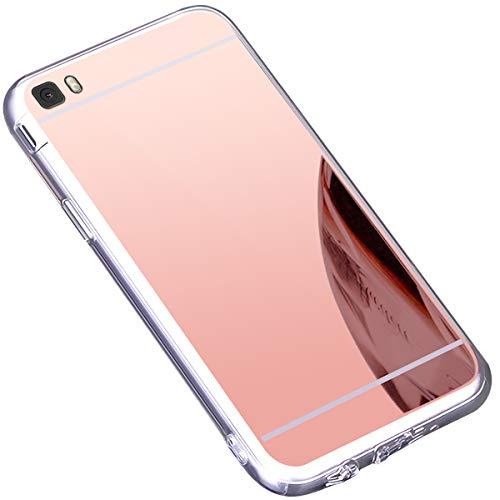 Surakey Cover Huawei P8 Lite, Effetto Specchio Custodia in Silicone Brillante Colore di Placcatura Mirror Case Antiurto TPU Bumper Ultra Sottile e Leggero Protettiva Cover per Huawei P8 Lite,Oro Rosa