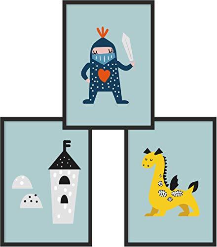 Kinderposter 3er-Set | 3X DIN A4 Poster | Jungen & Mädchen | Kunstdruck fürs Kinderzimmer | Motiv: Ritter