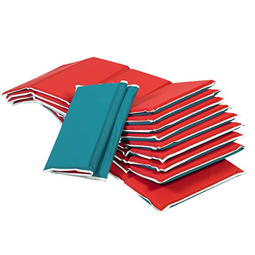 Children's Factory Pillow Rest Mats for Toddlers & Kids, 4-Fold Daycare Sleeping Floor Mat, Portable Foam Napping Mat, Red/Green 10 Pack, 3/4 inch Thick (CF400-011)