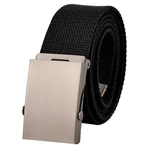 KEYNAT Cintura da Uomo in Tela, Fibbia Scorrevole Militare in Metallo, Cintura Regolabile per Più Occasioni, 115cm