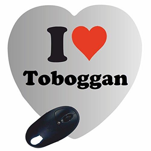 """Herz Mauspad \""""I Love Toboggan\"""" in Weiss, eine tolle Geschenkidee die von Herzen kommt  Rutschfestes Mousepad   Geschenktipp: Weihnachten Jahrestag Geburtstag Lieblingsmensch"""
