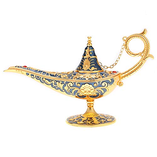 Parluna Vintage Anti-Oxidize Fadeless Aladdin Lamp, Magical Legend Aladdin'S Genie Lamp, Anti-Rust Exquisite for Home Decoration (blue)