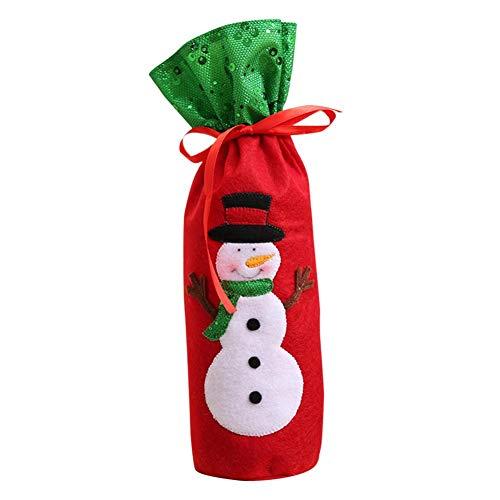 presentimer Bolsa de botella de vino de Navidad bordada cubiertas de botellas de vino con cordón a prueba de polvo bolsa de botella de champán para decoración de Navidad elegancia de primera clase