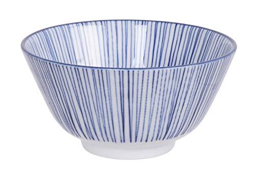 Nippon Blue | Set di 4 ciotole di riso blu a strisce, stella, onde, pois, Ø 12 cm x 6,4 cm, capacità 335 ml, idea regalo (ondo)
