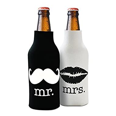 Mr. and Mrs Front and Back Printed Wedding, Anniversary, Newlywed, Bridal Shower Bottle Cooler Gift Set - Gift for Bride, Mom, Women Her- Present for Couples - Set of 2