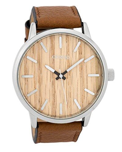 Oozoo Herrenuhr mit Lederband Wood 45 MM Braun Holz/Cognac C9256