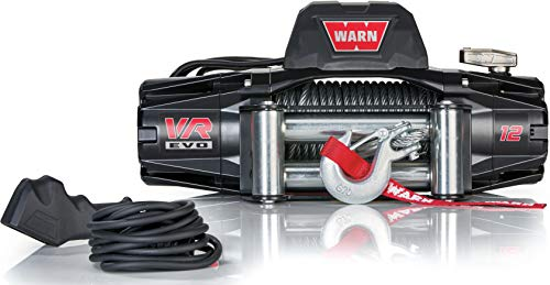 WARN 103254 VR EVO 12 Electric 12V DC Winch with Steel Cable Wire Rope: 3/8' Diameter x 85' Length, 6 Ton (12,000 lb) Pulling Capacity