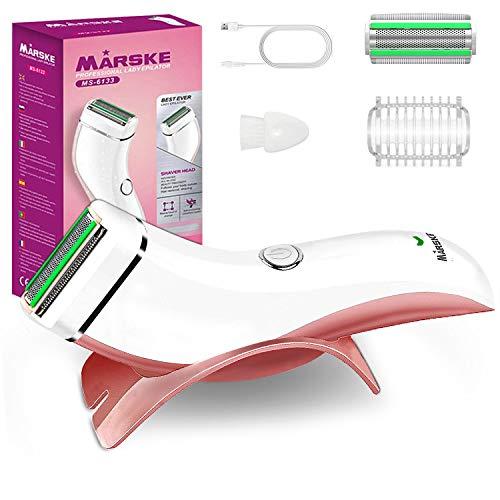 Afeitadora Eléctrica Mujer, Recortadora Femenina USB Recargable IPx7 Impermeable, Uso en Mojado y Seco, Eliminación del Vello Corporal para el Bikini pubis Debajo del Brazo para Piel Sensible