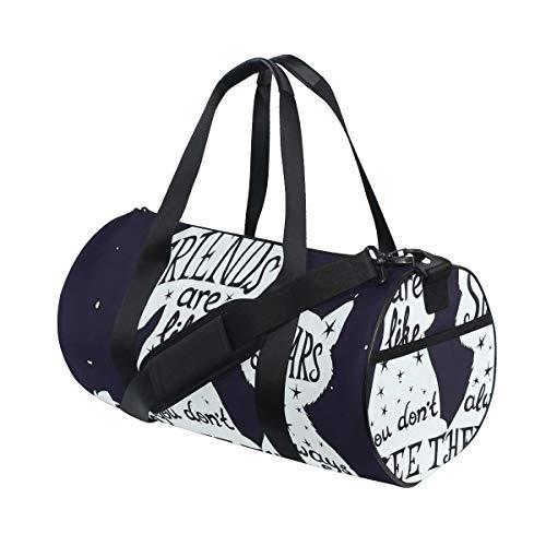 HARXISE Sporttasche Reisetasche,Freunde sind wie Sterne Zitat mit der Silhouette der Haustiere auf Raum themenorientierter Hintergrund,Schultergurt Handgepäck für Übernachtung Reisen