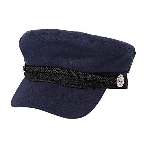 Achthoekige hoed Dames Heren Katoen Casual stijl Snaren Scharnierende knop Golfpet Platte hoed Hoofdwarmer Sportkleding, Donkerblauw, M