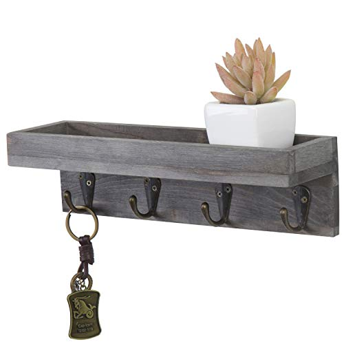 MyGift Floating Shelf Vintage Grey Wood Wall Mounted Entryway or Office Shelves with 4 Antique Metal Hooks