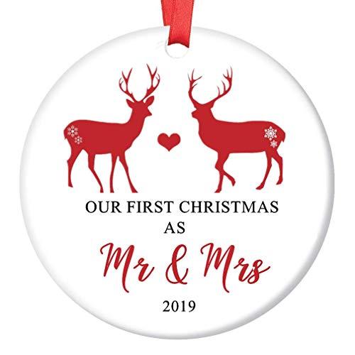 """LLIGHT Our First Christmas as Mr & Mrs Adornos de Navidad 2019 Pareja Matrimonio Decoración Vacaciones Ornamento Cerámica Blanca - 3"""""""