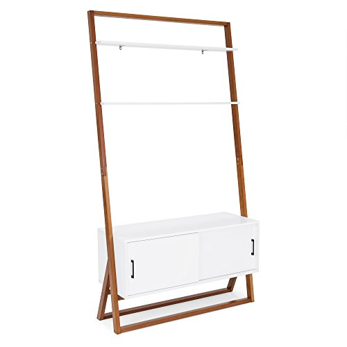 Best Choice Products 42in Modern Wooden Ladder Shelf TV Stand Media Console w/Shelves, Storage Cabinet - White