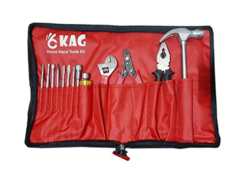 """Kag HK103 Home Hand Tool Kit-1 Pc of 1/2 Lb Claw Hammer,1 Pc 8"""" Combination Plier(Yellow Black),1 Pc of Screw Driver Set,1 Pc of 6"""" Adjustable Wrench & 1 Pc of Wire Cutter/Striper"""