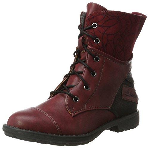 s.Oliver Mädchen 45201 Combat Boots, Rot (Dark Red), 35 EU
