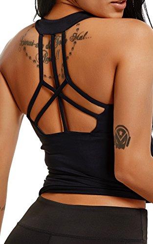 Tops Yoga Mujer Sin Mangas con Relleno Acolchado Deportiva Sujetador Camiseta de Tirantes Negro XL