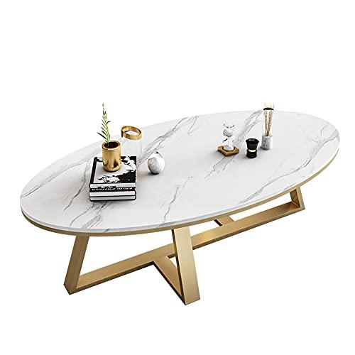 Mesa de centro de mármol, mesa de decoración minimalista moderna, mesa de centro móvil ovalada, mesa de comedor, mesa de centro de dormitorio, mesa de diálogo de oficina/White / 100cm