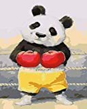 Paint by Numbers for Adults Children - Boxing Panda - DIY Digital Painting by Numbers Kits on Canvas