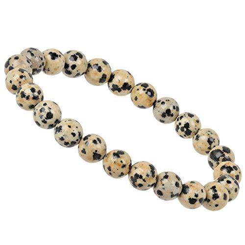ELEDORO PowerBead Damen-Armband Stretch aus Edelstein Perlen 8 mm 17-18 cm mit Dalmatiner Jaspis