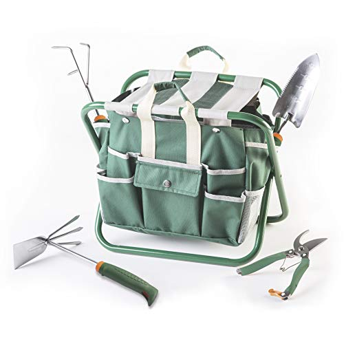 Fantastic Prices! Domus Style Stool Bag with Garden Spreader Kit, Green-Cream