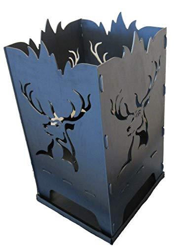 Design Feuerkorb Feuerschale aus Stahl Hirsch 40x40x80 cm