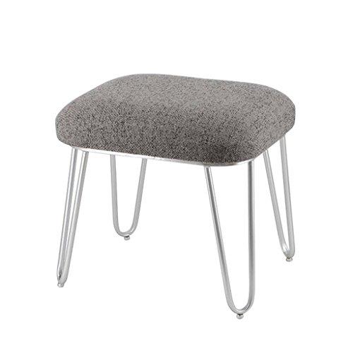 Tabouret en peluche en métal mode maquillage Tabouret Dressing tabouret chaise à thé tabouret de table (Couleur : Grey linen, taille : H44CM)