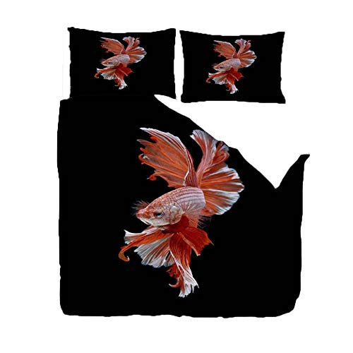 PANDAWDD 3D Printed 220x230cm Marine life red betta Bedding Set for Children Teens Duvet Cover Set with 2 Pillowcases Microfiber Quilt Cover with Zipper Closure