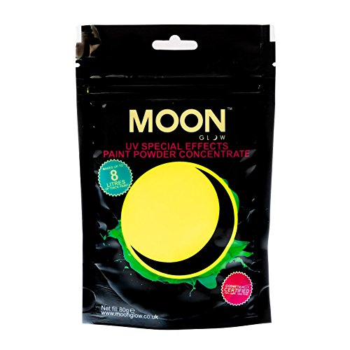 Moon Glow – Poudre pour peinture UV 80 g. Jaune Peinture fluo en poudre concentrée pour les fêtes et les effets spéciaux. Pour fabriquer jusqu'à 8 litres de peinture