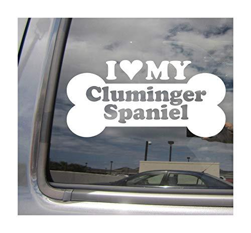 Lplpol I Heart Love My Cluminger Spaniel Dog Bone Clumber English Springer - Adhesivo de vinilo para pared, diseño mixto de raza híbrida para coches, camiones, cascos de ciclomotores, automoción, manualidades, portátil, calcomanía de vinilo para ventana de tienda, 6 cm