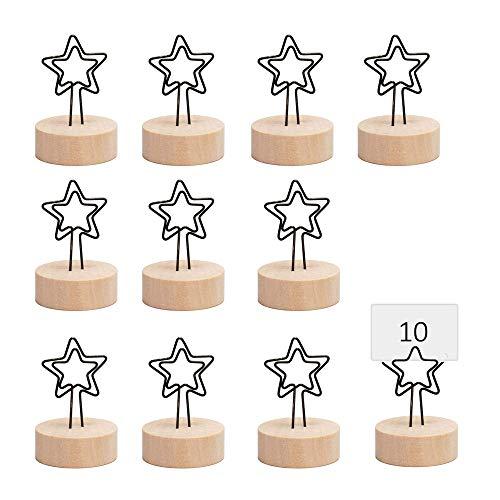 10 Piezas Soportes Tocón con Clip Metal, Portatarjetas de Mesa de Madera,...
