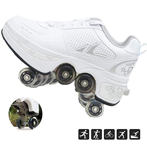 Hmyloz Intrekbare Wiel Roller Skates voor Meisjes En Vrouwen, Alle 4 Wielen van Meisjes Skates Sneakers Veilig En Plezier Spelen voor Kinderen Volwassen Ademende Trainers Sport