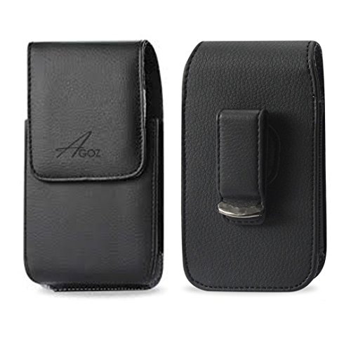 AGOZ Vertical Leather Carrying Case Pouch Holster Cover for CAT S62 PRO, S60 S50 S48c S41 S31 S52 with Swivel Belt Clip and Magnetic Closure