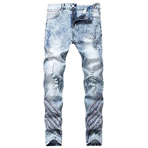 beautyjourneylove Jeans Uomo Stretti alla Caviglia,Pantaloni Jeans Dritti retrò Slim Fit con Fori Distrutti,Allungare Jogger Autunno Inverno Alunno Casuale Cowboy Pantaloni Handsome/Azzurro,38