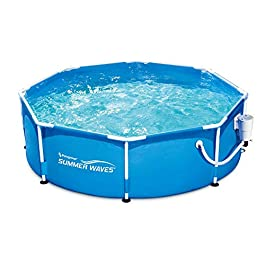 Summer Waves Active 8ft x 30in Round Frame Above Ground Outdoor Swimming...