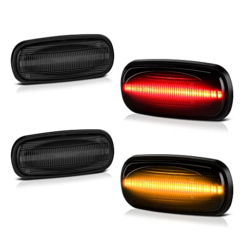 [4-Pieces] For 2003-2009 Dodge RAM 2500 3500 Dually Pickup Smoked Lens Red + Amber LED Strip Rear Fender Light Side Marker Lamp Replacement, Driver & Passenger Side