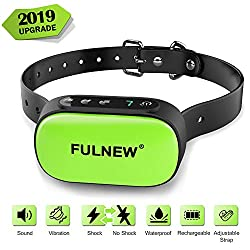 FULNEW Bark Collar Rechargeable Dog Bark Collar Barking Detection Devices Waterproof Rainproof Anti Bark Collar for Small Medium Large Dogs